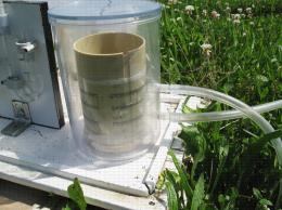 Piège Marchi : détail du tambour et du système de collecte des ascospores (tavelure)