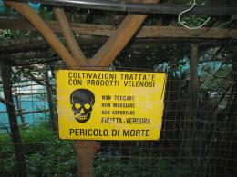 Produits phytosanitaires : panneau indicateur de traitement (citroniers, Italie)